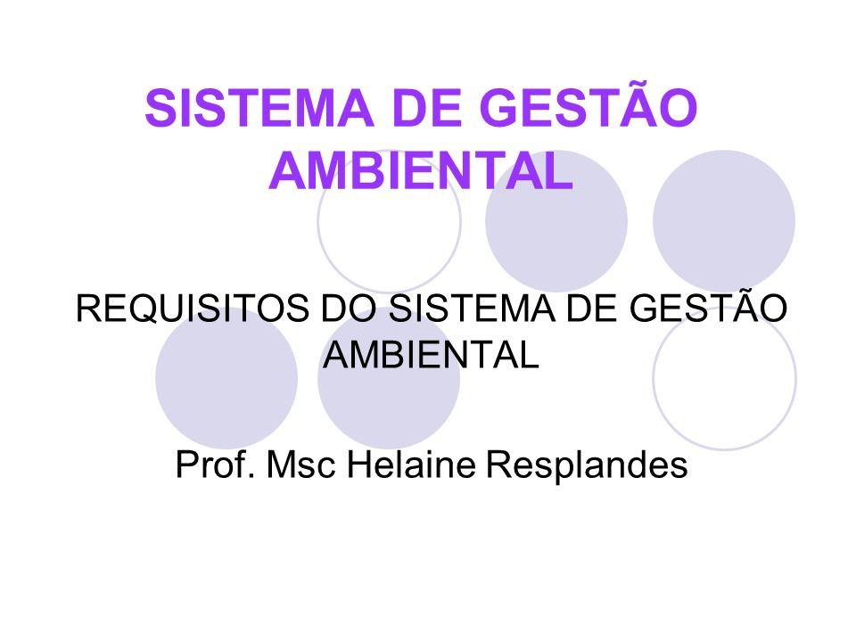 REQUISITOS DO SISTEMA DE GESTÃO AMBIENTAL Prof. Msc Helaine Resplandes SISTEMA DE GESTÃO AMBIENTAL