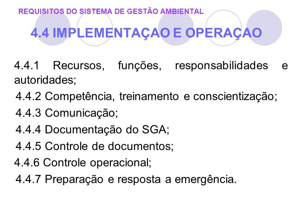 REQUISITOS DO SISTEMA DE GESTÃO AMBIENTAL 4.4 IMPLEMENTAÇAO E OPERAÇAO 4.4.1 Recursos, funções, responsabilidades e autoridades; 4.4.2 Competência, tr