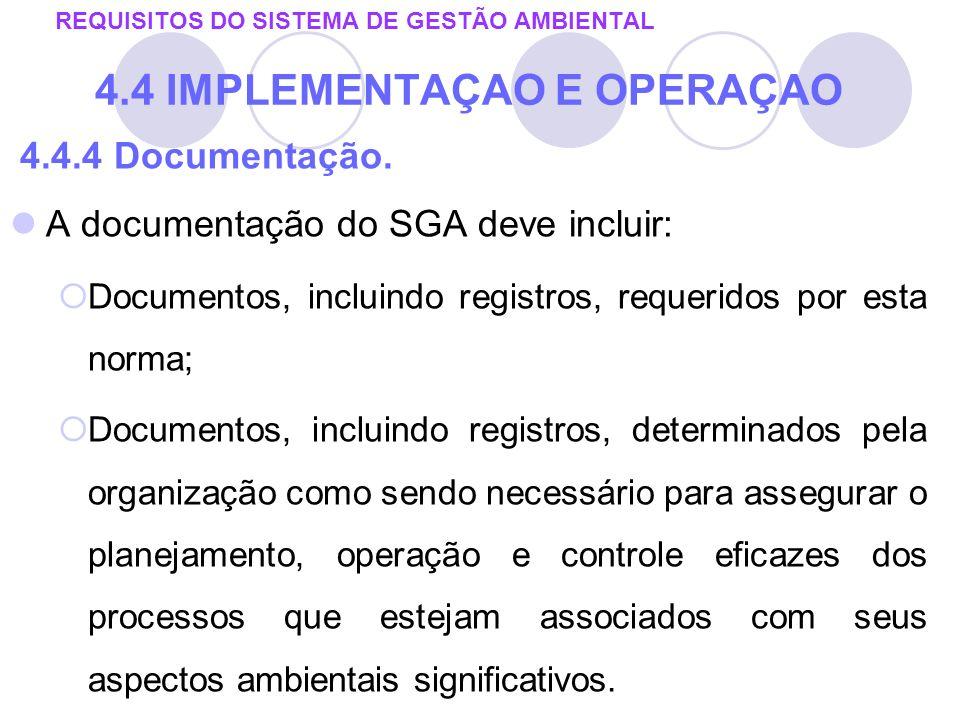 4.4.4 Documentação. A documentação do SGA deve incluir: Documentos, incluindo registros, requeridos por esta norma; Documentos, incluindo registros, d