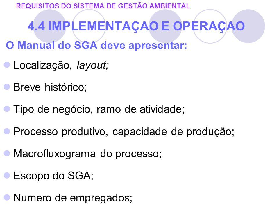 O Manual do SGA deve apresentar: Localização, layout; Breve histórico; Tipo de negócio, ramo de atividade; Processo produtivo, capacidade de produção;
