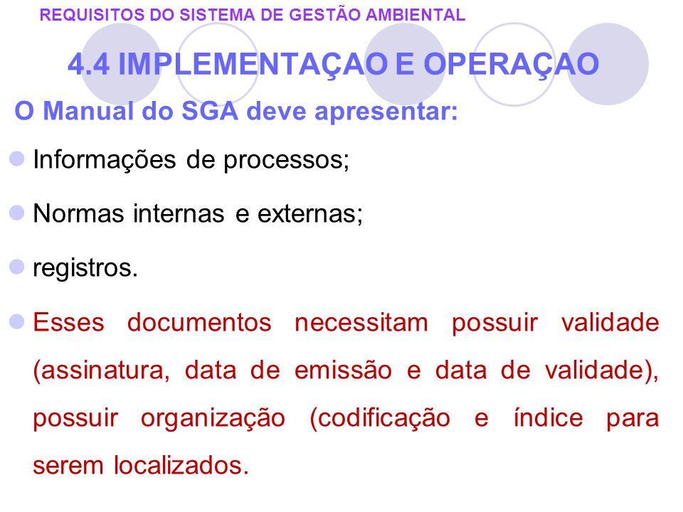 O Manual do SGA deve apresentar: Informações de processos; Normas internas e externas; registros. Esses documentos necessitam possuir validade (assina