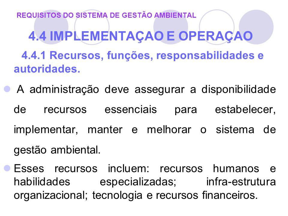 4.4.1 Recursos, funções, responsabilidades e autoridades. A administração deve assegurar a disponibilidade de recursos essenciais para estabelecer, im