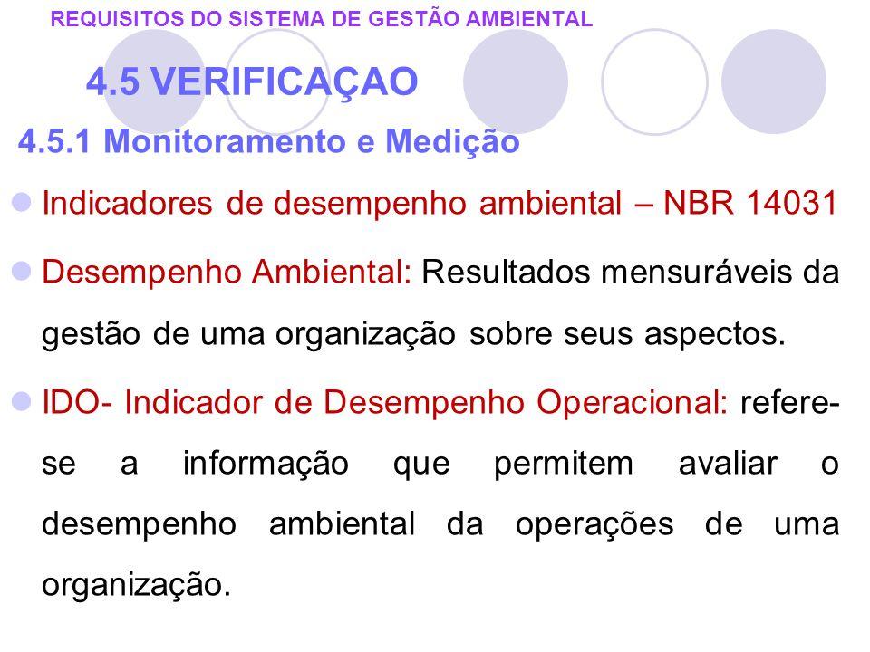 4.5.1 Monitoramento e Medição Indicadores de desempenho ambiental – NBR 14031 Desempenho Ambiental: Resultados mensuráveis da gestão de uma organizaçã