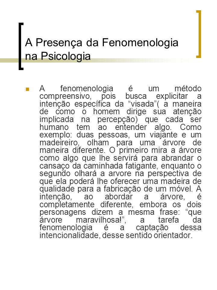A Presença da Fenomenologia na Psicologia A fenomenologia é um método compreensivo, pois busca explicitar a intenção específica da visada( a maneira d