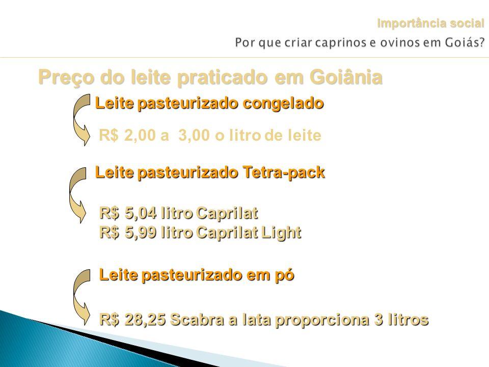 Preço do leite praticado em Goiânia Leite pasteurizado congelado R$ 2,00 a 3,00 o litro de leite Leite pasteurizado Tetra-pack R$ 5,04 litro Caprilat
