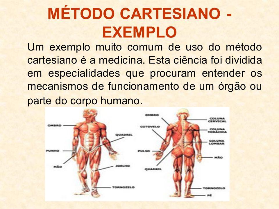MÉTODO CARTESIANO - EXEMPLO Um exemplo muito comum de uso do método cartesiano é a medicina. Esta ciência foi dividida em especialidades que procuram
