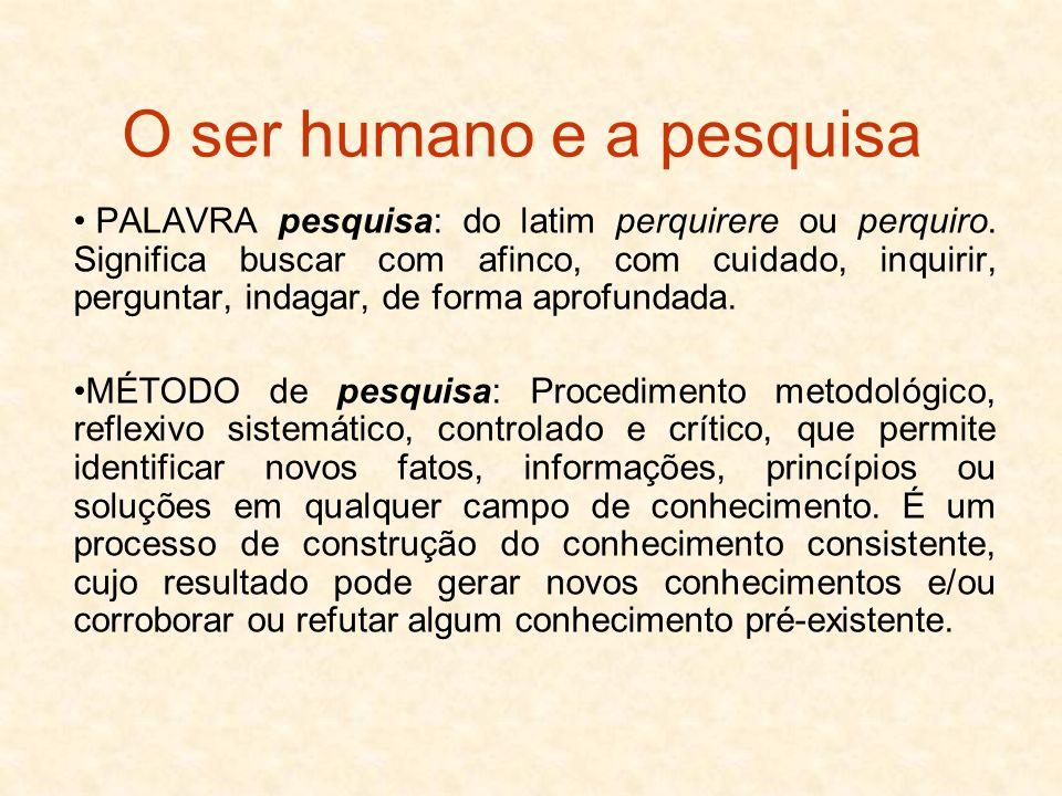 O ser humano e a pesquisa PALAVRA pesquisa: do latim perquirere ou perquiro. Significa buscar com afinco, com cuidado, inquirir, perguntar, indagar, d
