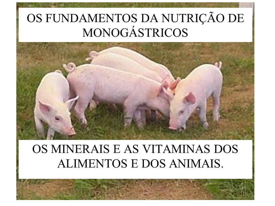OS FUNDAMENTOS DA NUTRIÇÃO DE MONOGÁSTRICOS OS MINERAIS E AS VITAMINAS DOS ALIMENTOS E DOS ANIMAIS.