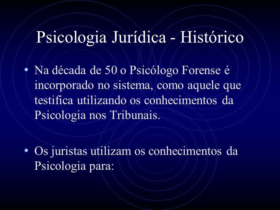 Psicologia Jurídica - Histórico Traduzir os conceitos abstratos das leis em termos empíricos, operacionais.