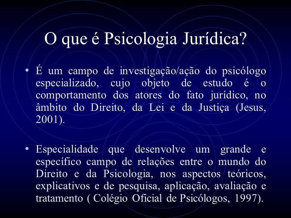 As psicologias aplicadas à Justiça Psicologia Forense Criminologia Psicologia Penitenciária Psicologia Judicial (juízes, jurados e testemunhas) Psicologia Policial e Militar Mediação Familiar Vitimologia