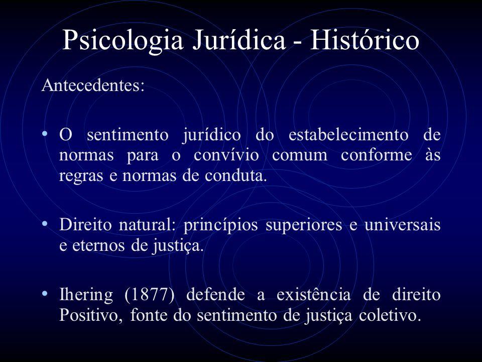 Psicologia Jurídica - Histórico Hausen (1792): A necessidade de conhecimento psicológico para julgar os delitos.