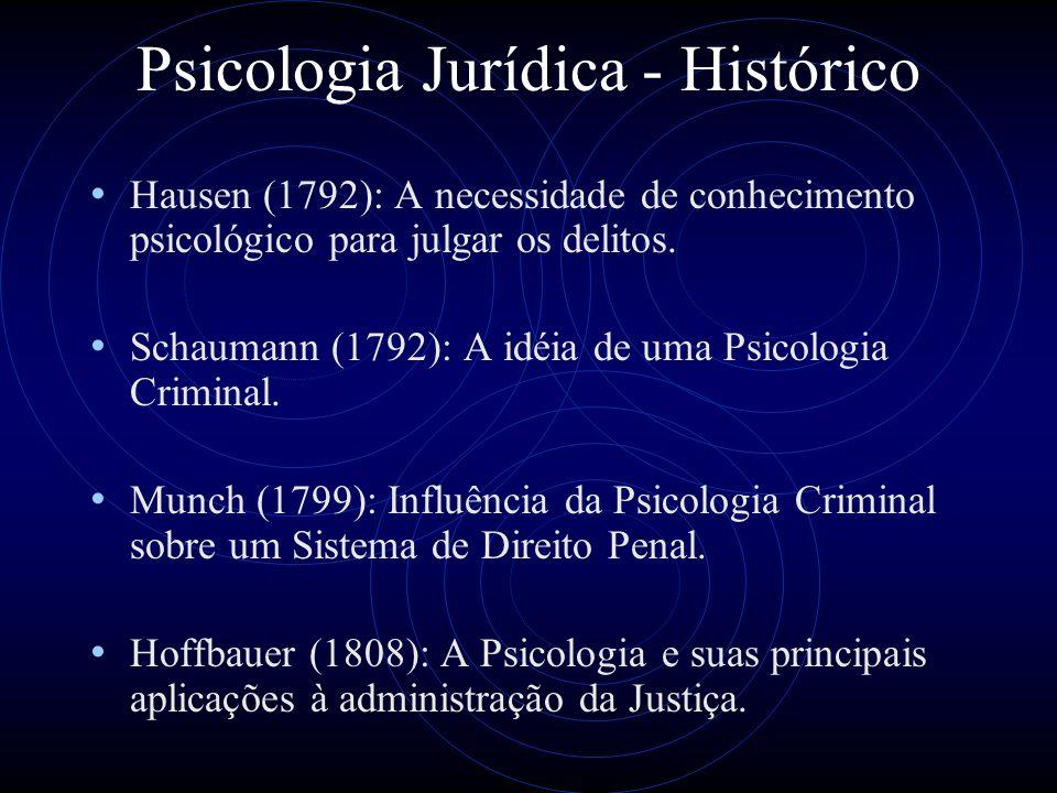 Psicologia Jurídica - Histórico Em 1835 surgiu o Manual Sistemático de Psicologia Judicial.