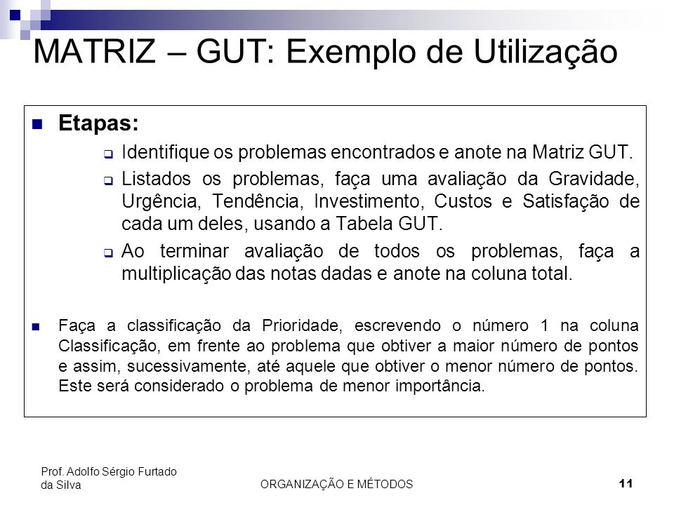 ORGANIZAÇÃO E MÉTODOS 11 Prof. Adolfo Sérgio Furtado da Silva MATRIZ – GUT: Exemplo de Utilização Etapas: Identifique os problemas encontrados e anote