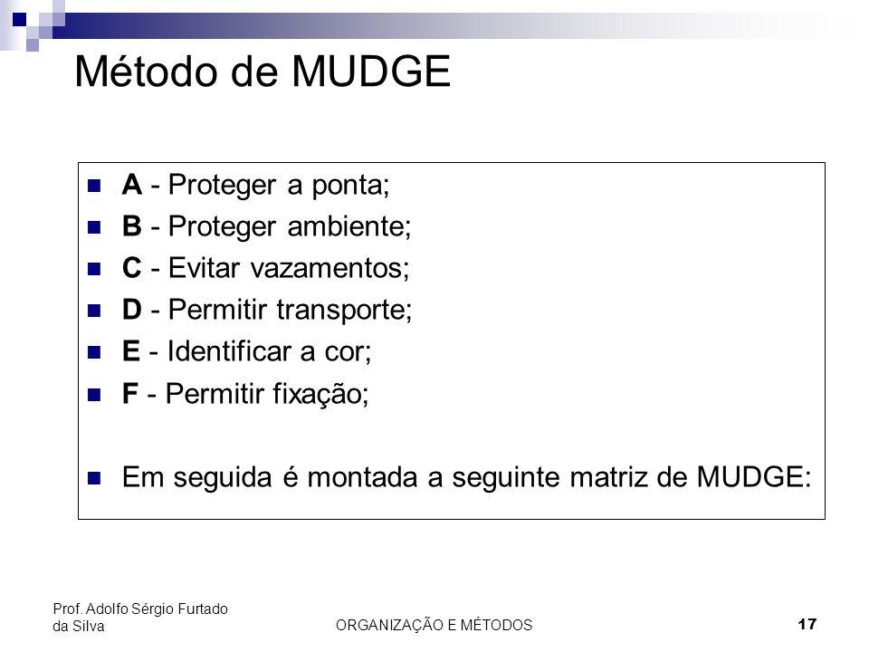 ORGANIZAÇÃO E MÉTODOS 17 Prof. Adolfo Sérgio Furtado da Silva Método de MUDGE A - Proteger a ponta; B - Proteger ambiente; C - Evitar vazamentos; D -