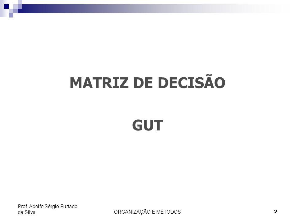 ORGANIZAÇÃO E MÉTODOS 2 Prof. Adolfo Sérgio Furtado da Silva MATRIZ DE DECISÃO GUT