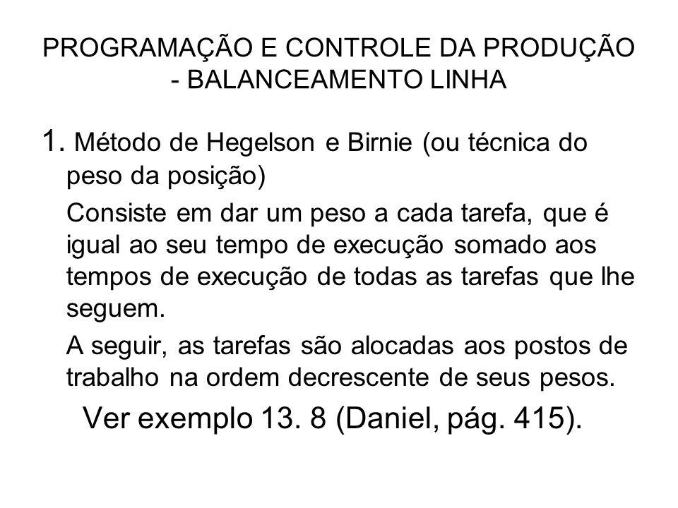PROGRAMAÇÃO E CONTROLE DA PRODUÇÃO - BALANCEAMENTO LINHA 1. Método de Hegelson e Birnie (ou técnica do peso da posição) Consiste em dar um peso a cada