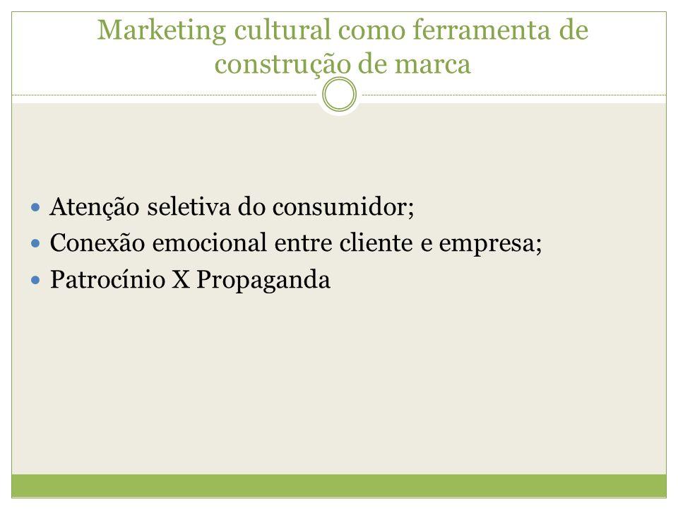 Marketing cultural como ferramenta de construção de marca Atenção seletiva do consumidor; Conexão emocional entre cliente e empresa; Patrocínio X Prop