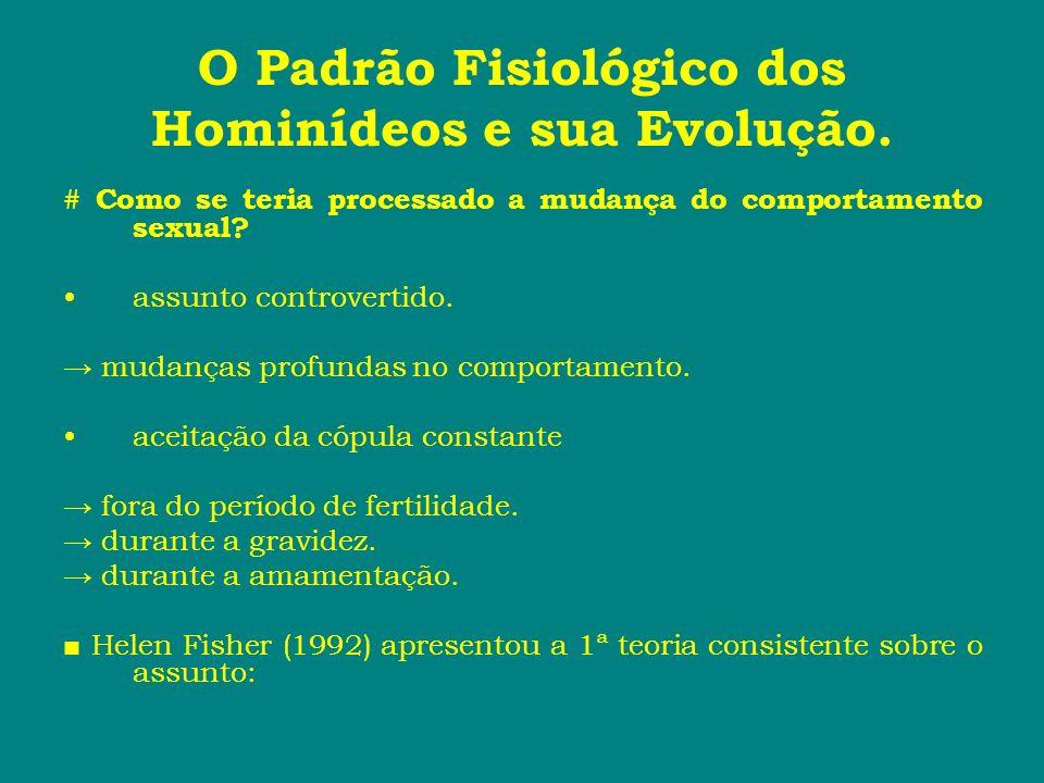 O Padrão Fisiológico dos Hominídeos e sua Evolução. # Como se teria processado a mudança do comportamento sexual? assunto controvertido. mudanças prof