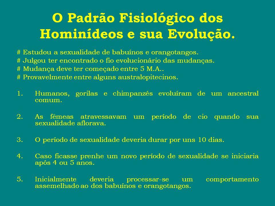 O Padrão Fisiológico dos Hominídeos e sua Evolução. # Estudou a sexualidade de babuínos e orangotangos. # Julgou ter encontrado o fio evolucionário da