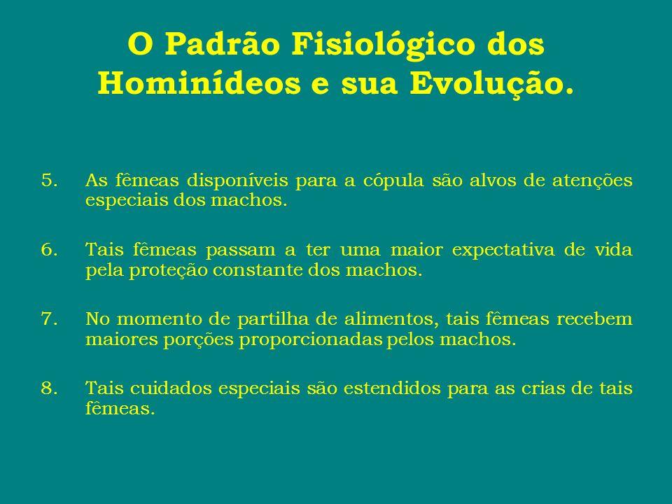 O Padrão Fisiológico dos Hominídeos e sua Evolução. 5.As fêmeas disponíveis para a cópula são alvos de atenções especiais dos machos. 6.Tais fêmeas pa