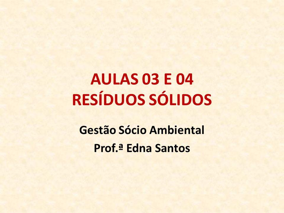 AULAS 03 E 04 RESÍDUOS SÓLIDOS Gestão Sócio Ambiental Prof.ª Edna Santos