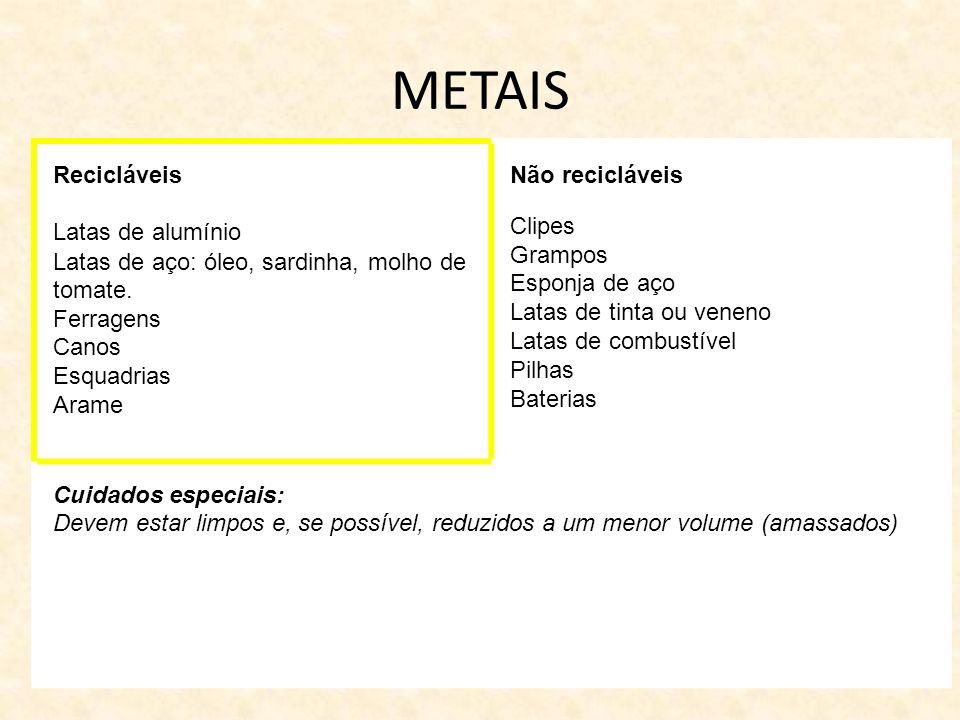 METAIS Recicláveis Latas de alumínio Latas de aço: óleo, sardinha, molho de tomate. Ferragens Canos Esquadrias Arame Não recicláveis Clipes Grampos Es