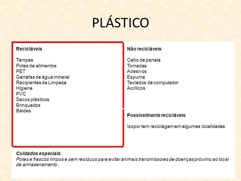 PLÁSTICO Recicláveis Tampas Potes de alimentos PET Garrafas de água mineral Recipientes de Limpeza Higiene PVC Sacos plásticos Brinquedos Baldes Não r