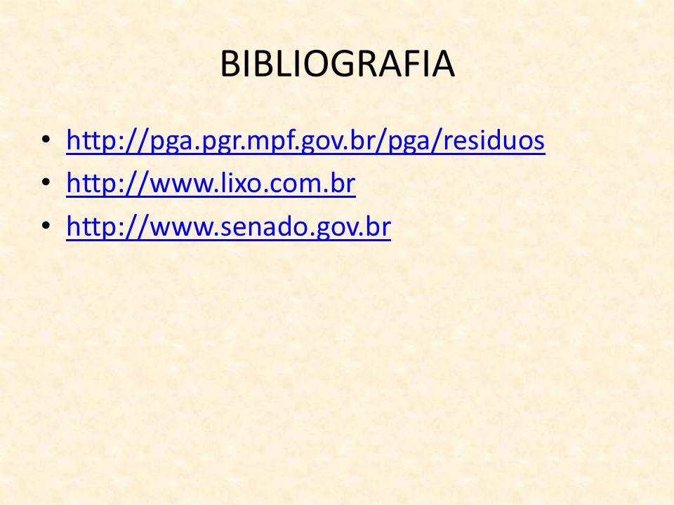 BIBLIOGRAFIA http://pga.pgr.mpf.gov.br/pga/residuos http://www.lixo.com.br http://www.senado.gov.br