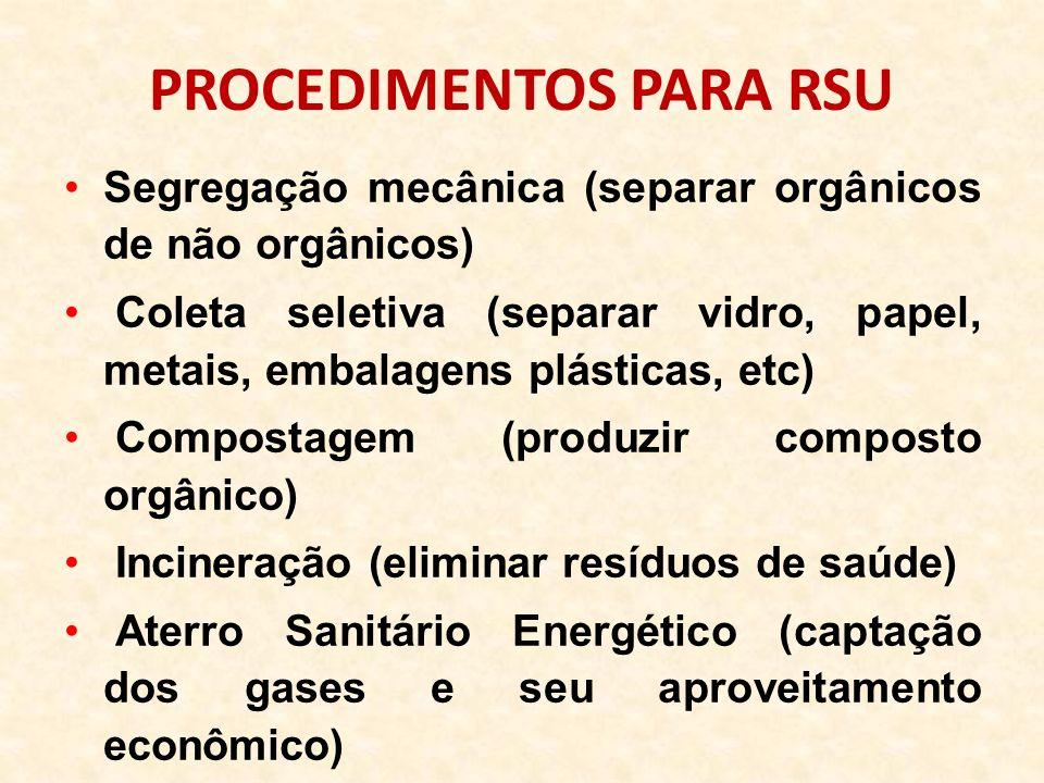 PROCEDIMENTOS PARA RSU Segregação mecânica (separar orgânicos de não orgânicos) Coleta seletiva (separar vidro, papel, metais, embalagens plásticas, e