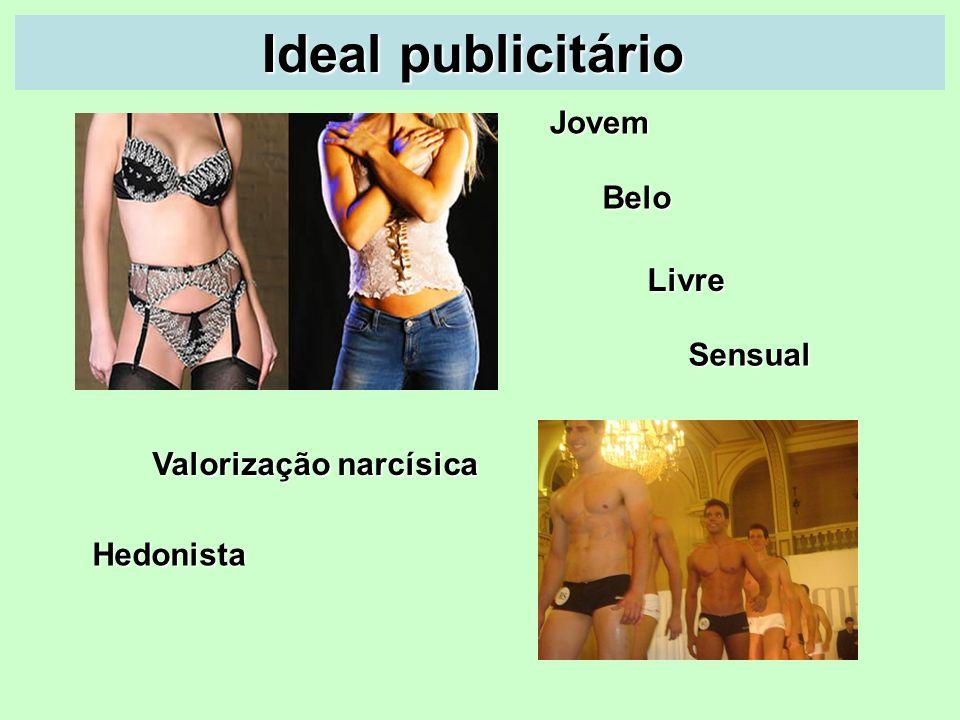 Ideal publicitário Ideal publicitário Hedonista Belo Jovem Valorização narcísica Livre Sensual