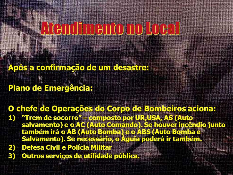 Já o Médico Regulador do COB (Centro de Operações dos Bombeiros) mobiliza: 1)Equipe de médicos e de enfermeiros do SAMU (192 e 193) para o atendimento e coordenação (não esquecer das vítimas de outros acidentes fora do desastre) 2)O P.C.M.