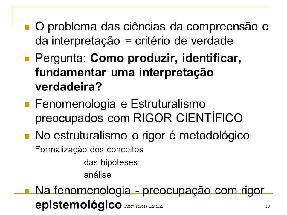 Profª Teresa Cristina 10 O problema das ciências da compreensão e da interpretação = critério de verdade Pergunta: Como produzir, identificar, fundame