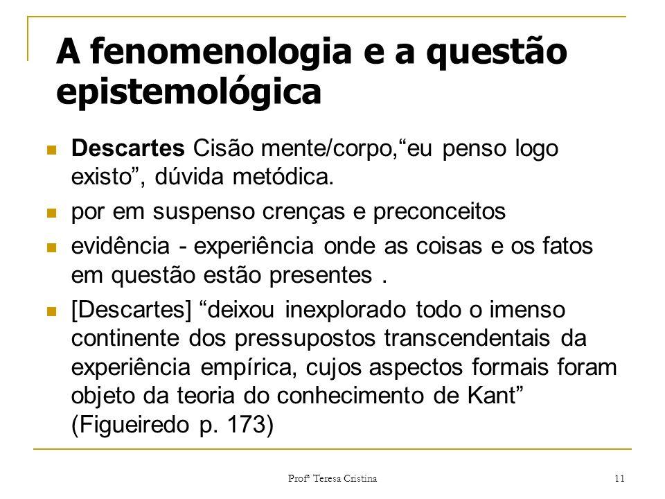 Profª Teresa Cristina 11 A fenomenologia e a questão epistemológica Descartes Cisão mente/corpo,eu penso logo existo, dúvida metódica. por em suspenso