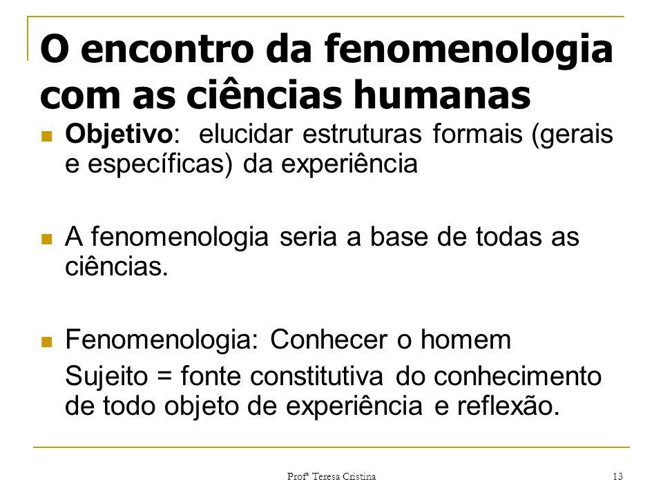 Profª Teresa Cristina 13 O encontro da fenomenologia com as ciências humanas Objetivo: elucidar estruturas formais (gerais e específicas) da experiênc