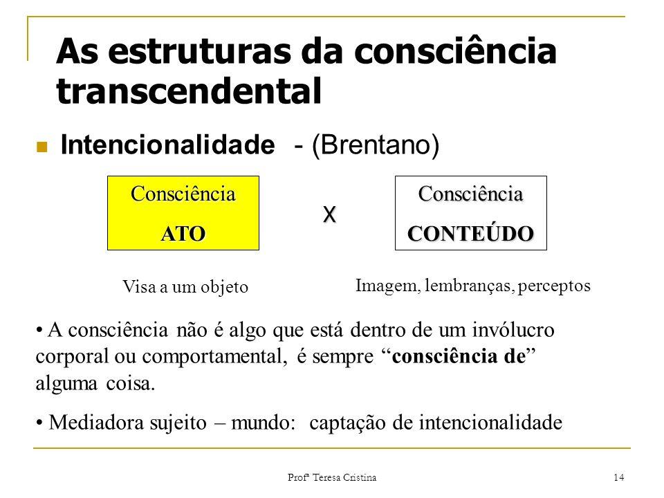 Profª Teresa Cristina 14 As estruturas da consciência transcendental Intencionalidade - (Brentano) ConsciênciaATOConsciênciaCONTEÚDO Visa a um objeto