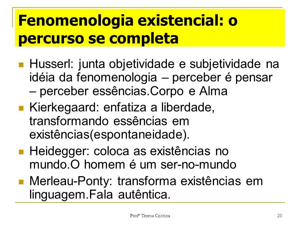 Profª Teresa Cristina 20 Fenomenologia existencial: o percurso se completa Husserl: junta objetividade e subjetividade na idéia da fenomenologia – per