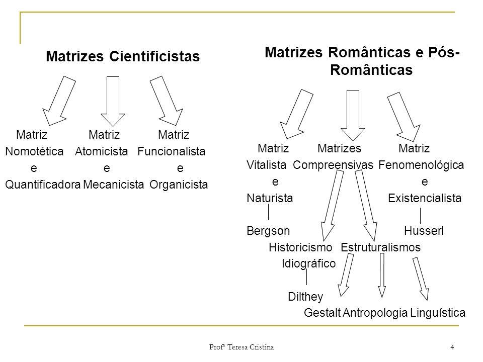 Profª Teresa Cristina 4 Matrizes Cientificistas Matriz Matriz Matriz Nomotética Atomicista Funcionalista e e e Quantificadora Mecanicista Organicista