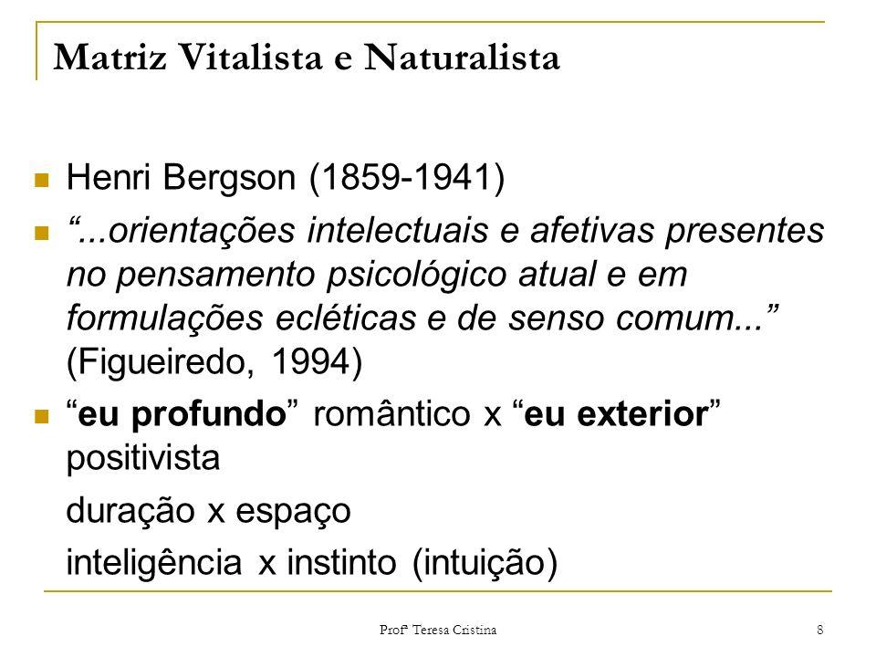 Profª Teresa Cristina 8 Matriz Vitalista e Naturalista Henri Bergson (1859-1941)...orientações intelectuais e afetivas presentes no pensamento psicoló