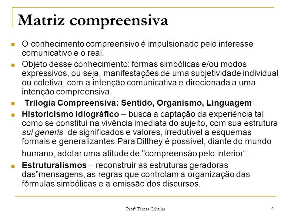 Profª Teresa Cristina 9 Matriz compreensiva O conhecimento compreensivo é impulsionado pelo interesse comunicativo e o real. Objeto desse conhecimento