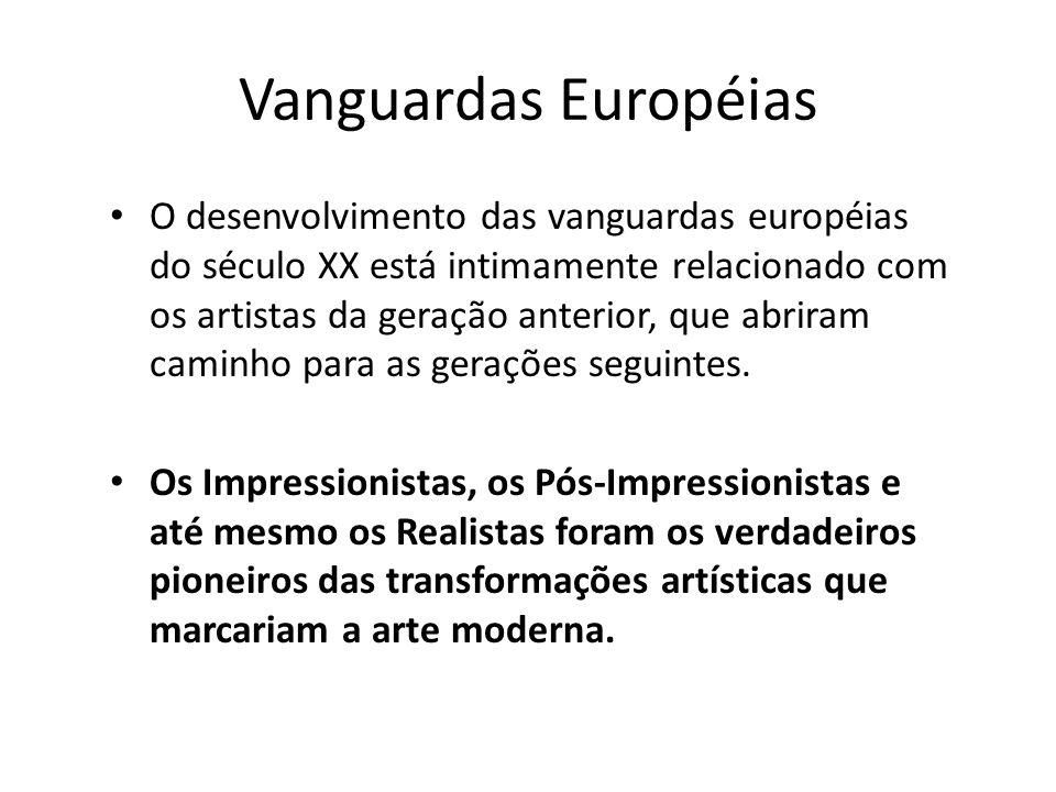 Vanguardas Européias O desenvolvimento das vanguardas européias do século XX está intimamente relacionado com os artistas da geração anterior, que abr