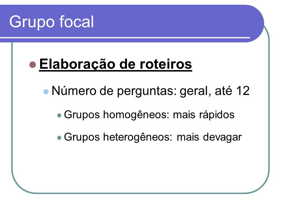 Grupo focal Elaboração de roteiros Número de perguntas: geral, até 12 Grupos homogêneos: mais rápidos Grupos heterogêneos: mais devagar