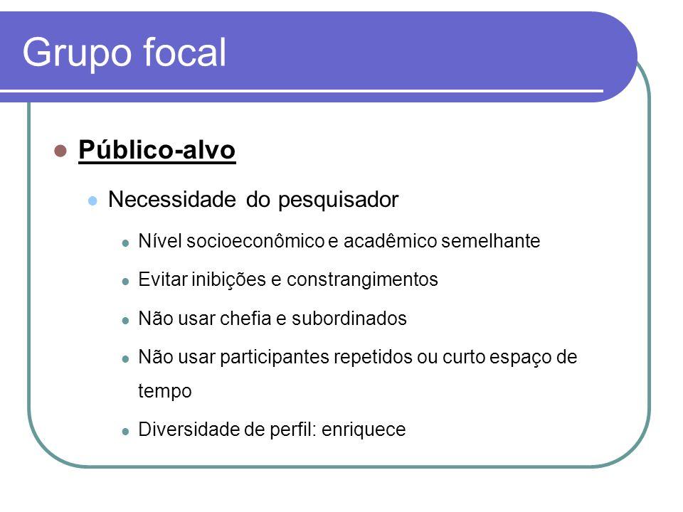Grupo focal Público-alvo Necessidade do pesquisador Nível socioeconômico e acadêmico semelhante Evitar inibições e constrangimentos Não usar chefia e