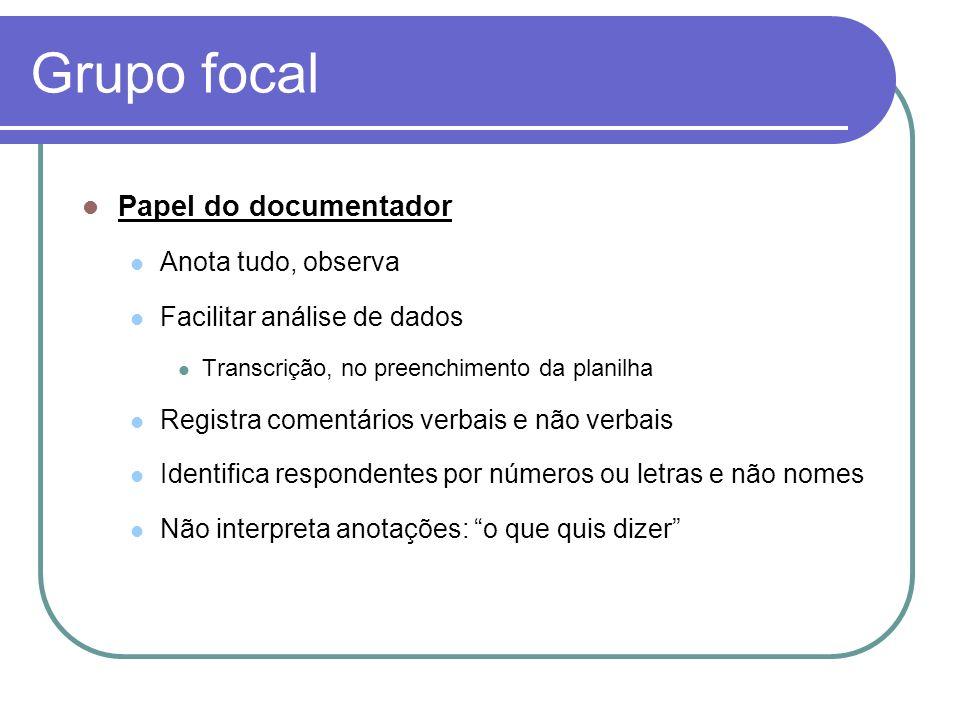 Grupo focal Papel do documentador Anota tudo, observa Facilitar análise de dados Transcrição, no preenchimento da planilha Registra comentários verbai