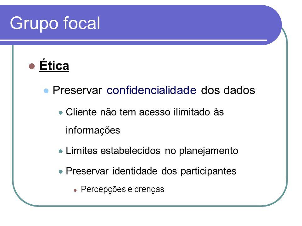 Grupo focal Ética Preservar confidencialidade dos dados Cliente não tem acesso ilimitado às informações Limites estabelecidos no planejamento Preserva