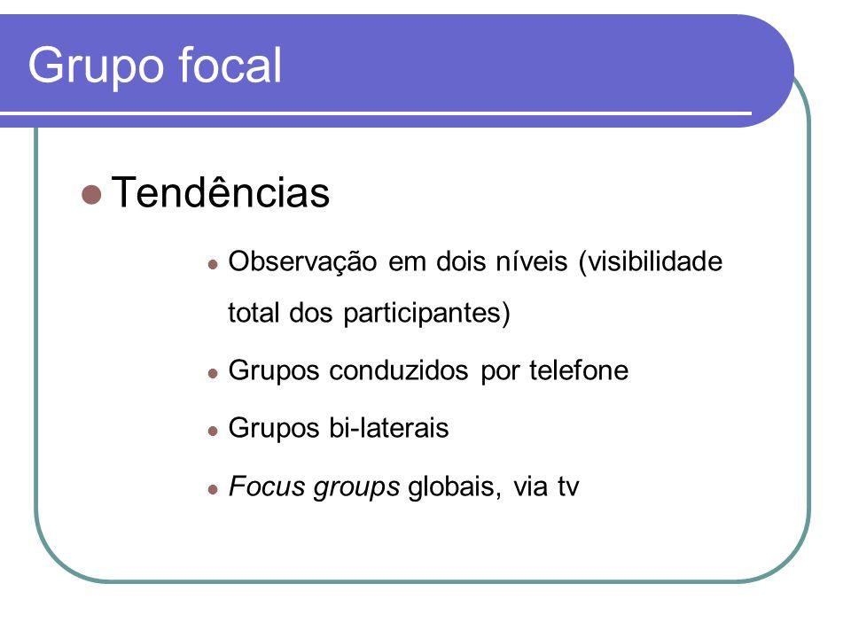 Grupo focal Tendências Observação em dois níveis (visibilidade total dos participantes) Grupos conduzidos por telefone Grupos bi-laterais Focus groups