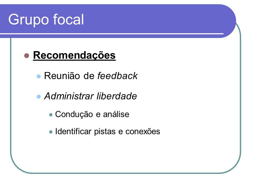 Grupo focal Recomendações Reunião de feedback Administrar liberdade Condução e análise Identificar pistas e conexões