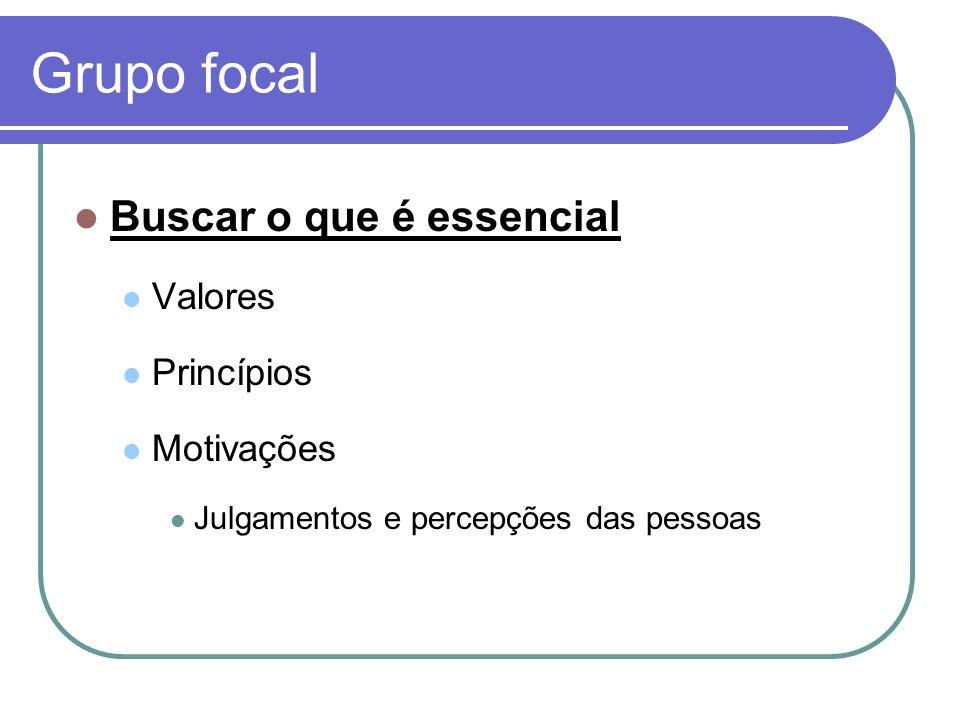 Grupo focal Buscar o que é essencial Valores Princípios Motivações Julgamentos e percepções das pessoas