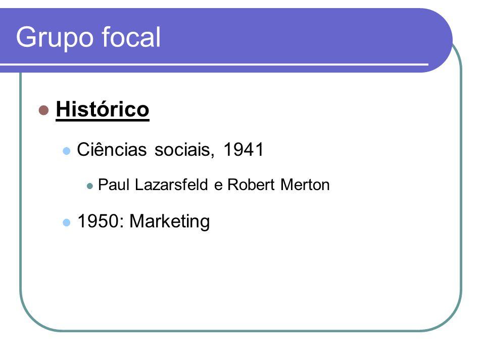 Grupo focal Histórico Ciências sociais, 1941 Paul Lazarsfeld e Robert Merton 1950: Marketing