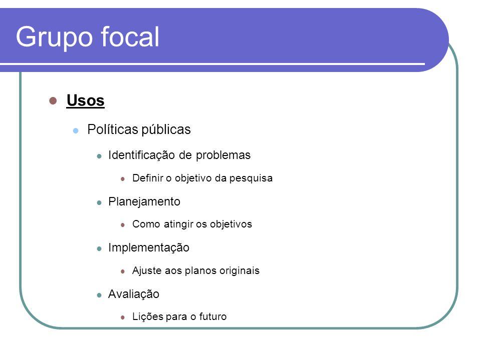 Grupo focal Usos Políticas públicas Identificação de problemas Definir o objetivo da pesquisa Planejamento Como atingir os objetivos Implementação Aju