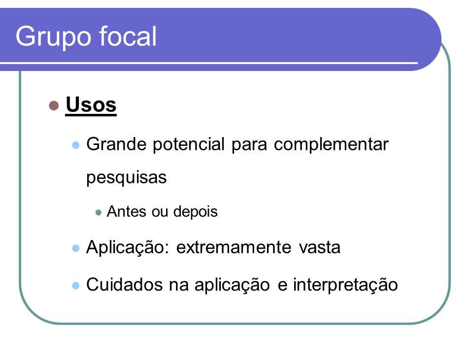 Grupo focal Usos Grande potencial para complementar pesquisas Antes ou depois Aplicação: extremamente vasta Cuidados na aplicação e interpretação